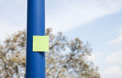 Post it on pole - RAW format Stock Images