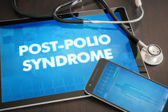 Post-polio syndrome (neurological disorder) diagnosis medical co. Ncept on tablet screen with stethoscope Stock Photography