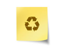 Post it with recycle sign Royalty Free Stock Photos