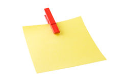 Post it with red peg stock photos