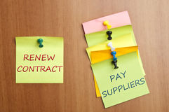 Post it with Renew Contract Stock Photos