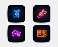 Post-, Rolltreppen- und Traktorikonen Technisches Hinweiszeichen Smartphone-Kommunikation, Aufzug, Bauernhoftransport Vektor lizenzfreie abbildung