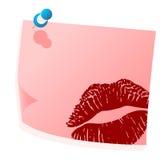 Post-it rosado de las tarjetas del día de San Valentín Fotografía de archivo libre de regalías