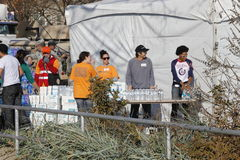 Post Sandy. Red Cross volunteers distributing food and basic necessities to victims of hurricane Sandy in Brighton Beach, Brooklyn New York Royalty Free Stock Photography