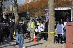 Post Sandy. Red Cross volunteers distributing food and basic necessities to victims of hurricane Sandy in Brighton Beach, Brooklyn New York Royalty Free Stock Images