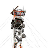 Post with satellite and radar devices Royalty Free Stock Photography