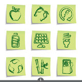 Post it series - ecology. Set of ecology post it note icons from series Stock Photos