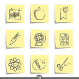 Post it series - education. Set of education post it note icons from series Royalty Free Stock Photos