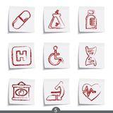 Post it series - medical. Set of medical post it note icons from series Stock Photography