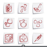 Post it series - medical. Set of medical post it note icons from series Royalty Free Stock Image