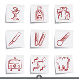Post it series - medical. Set of medical post it note icons from series Stock Photo