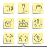 Post it series - music. Set of music post it note icons from series Royalty Free Stock Image