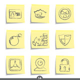 Post it series - security. Set of safety and security post it note icons from series Stock Images