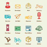 Post service elements. Vector infographic icons Royalty Free Stock Images