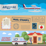 Post Service Horizontal Banners Set. With air transportation mail stamps and fast delivery  vector illustration Stock Photography