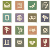 Post service icon set. Post service web icons for user interface design Royalty Free Stock Photos
