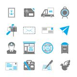 Post Service Icons. Post service icon set of shipping delivery packaging isolated vector illustration Royalty Free Stock Images