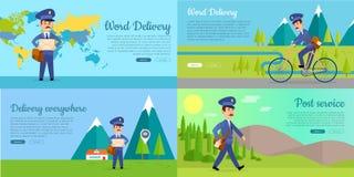 Post Service Vector Cartoon Web Banners Set Royalty Free Stock Image