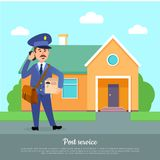 Post Service Web Banner. Courier Delivers Package. To addressee. World delivery banner with postman. Mailman in suit with telephone holding box stands near Royalty Free Stock Photography