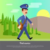 Post Service Web Banner. World Delivery Picture. With postman. Mailman in suit walking along forest in hot summer day. Express mail at any weather conditions Royalty Free Stock Image
