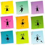 Post it set with hand drawn kids Royalty Free Stock Photo