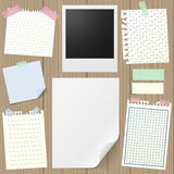 Post-it set. Of realistic sticky notes, lined and squared notebook papers, vintage photograph, blank sheet mock-up with pins and stickers. Place for text royalty free illustration