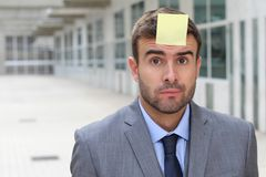 Post it showing an important reminder.  Stock Photo