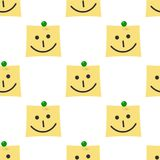 Post It with Smile Icon Seamless Pattern Royalty Free Stock Photography
