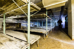 Post Soviet abandoned cold war bomb shelter. All pictures made in low light conditions without any light from outside. Only light was two portable flashlights royalty free stock image