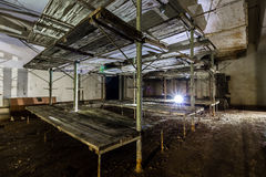 Post Soviet abandoned cold war bomb shelter. All pictures made in low light conditions without any light from outside. Only light was two portable flashlights stock photography