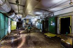 Post Soviet abandoned cold war bomb shelter. All pictures made in low light conditions without any light from outside. Only light was two portable flashlights royalty free stock photo