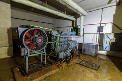Post Soviet abandoned cold war bomb shelter. All pictures made in low light conditions without any light from outside. Only light was two portable flashlights stock images