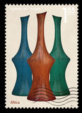 Post stamp. Africa vases Stock Image