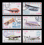 Post stamp. Airplane Royalty Free Stock Photography