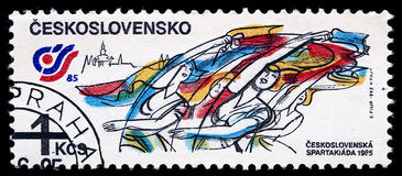 Post stamp CZECHOSLOVAKIA 1985 with gymnasts Stock Photography