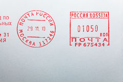 Post stamp on envelope Royalty Free Stock Photos