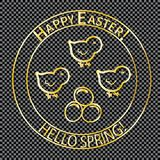 Easter post stamp-01. Post stamp gold color. For the Easter holiday. Chickens and dyed eggs. For comic cover-envelope. For registration of greeting cards on a Royalty Free Stock Photos