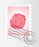Post stamp with rose. Vector illustration of post stamp with rose Stock Photo