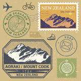Post stamp set with Aoraki / Mount Cook Stock Photography