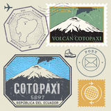 Post stamp set with the Cotopaxi Volcano Stock Photography