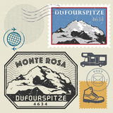 Post stamp set with the Dufourspitze, Alps Royalty Free Stock Image