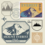 Post stamp set with the Mount Everest in the Himalayas Stock Photos