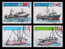 Post stamp. Ships. Cuba - circa 1978: A post stamp printed in the Cuba shows image of ships, series Ships, circa 1978 Royalty Free Stock Photography
