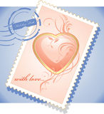 Post stamp to the Valentines day Royalty Free Stock Image