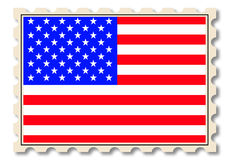Post stamp with USA national flag Royalty Free Stock Photography