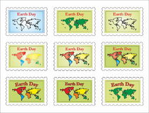 Post stamp-world map Stock Photography