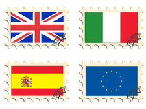 The post stamps. And flags of the countries Stock Photos