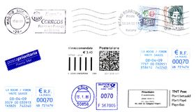 Post stamps 2009. Labels, stamps and postmark 2009 Stock Images