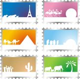 Post stamps. Set of six post stamps with vacation scenes Stock Image