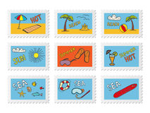 Post stamps with beach doodles. Vector illustration Stock Photos